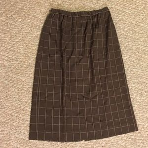 Vintage brown plaid pencil skirt